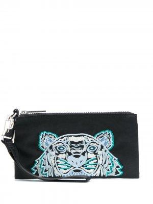 Клатч с вышивкой Tiger Kenzo. Цвет: черный