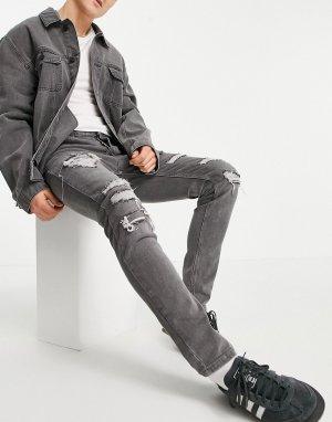 Серые эластичные джинсы скинни с заплатками -Серый Topman