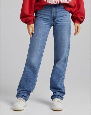 Голубые джинсы с завышенной талией в винтажном стиле -Голубой Bershka