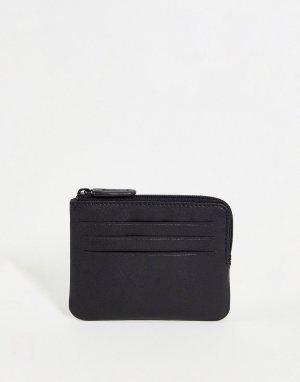 Черный кожаный кошелек на молнии с отделениями для карт -Черный цвет ASOS DESIGN