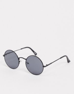 Круглые солнцезащитные очки с черными стеклами -Черный ASOS DESIGN