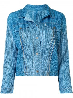 Куртка-рубашка на пуговицах Pleats Please Issey Miyake. Цвет: синий