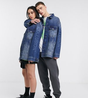 Синяя джинсовая oversized-куртка унисекс COLLUSION-Синий Collusion