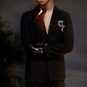 Мужской Пиджак с лацканами графическим принтом SHEIN. Цвет: чёрный
