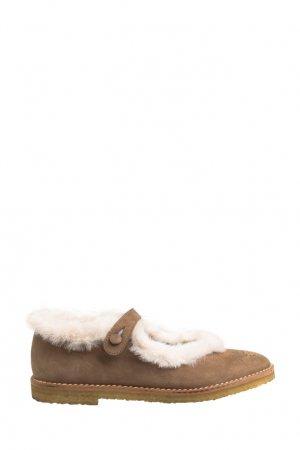 Туфли с меховой опушкой Bonpoint. Цвет: бежевый