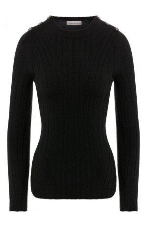 Шерстяной пуловер Alexander McQueen. Цвет: черный