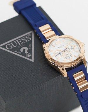 Часы с темно-синим ремешком -Синий Guess