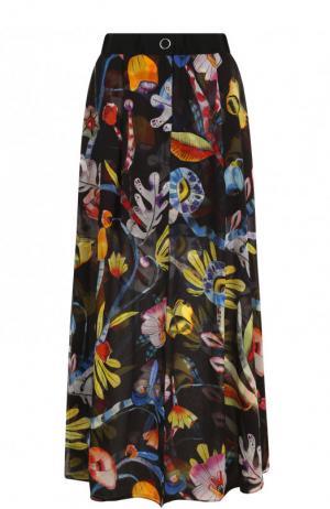 Шелковая юбка-макси с цветочным принтом Giorgio Armani. Цвет: разноцветный