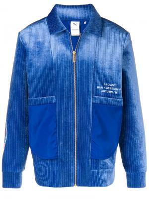 Вельветовая куртка-бомбер на молнии Puma. Цвет: синий