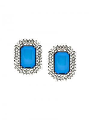 Серьга в стиле оверсайз Balenciaga. Цвет: синий