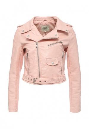 Куртка кожаная Softy SO017EWROZ51. Цвет: розовый