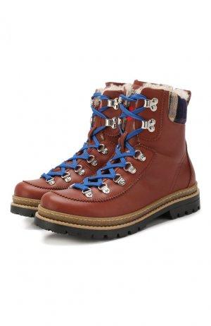 Кожаные ботинки с меховой отделкой Dsquared2. Цвет: коричневый