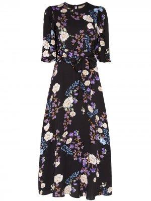 Платье с цветочным принтом и поясом byTiMo. Цвет: разноцветный