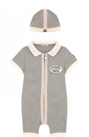 Хлопковый комплект из комбинезона и шапки Moncler Enfant. Цвет: розовый