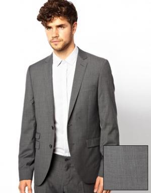 Приталенный пиджак в мелкую клетку Esprit. Цвет: серый