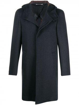 Пальто с потайной застежкой и оборками Canali. Цвет: синий