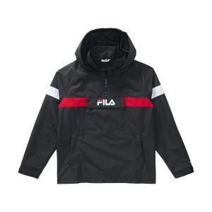 Ветровка короткая с капюшоном, демисезонная модель FILA. Цвет: черный