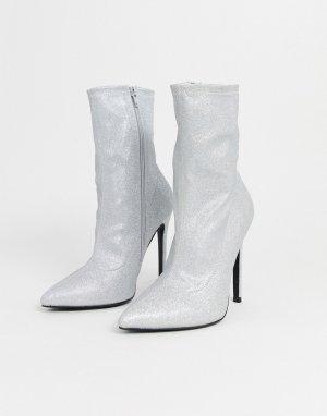 Серебристые блестящие полусапожки на высоком каблуке ASOS DESIGN-Серебристый