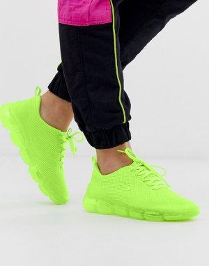 Неоново-зеленые кроссовки Skech 92-Зеленый Skechers