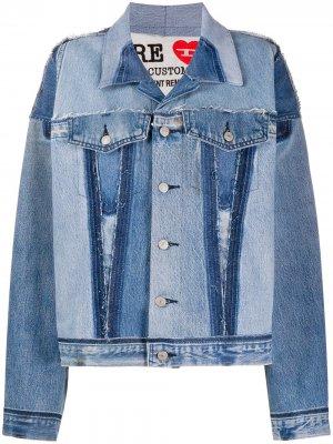 Джинсовая куртка в технике пэчворк Diesel Red Tag. Цвет: синий
