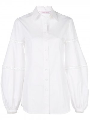 Рубашка оверсайз с кружевом Carolina Herrera. Цвет: белый