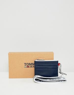 Logo cardholder cross body in navy Tommy Jeans. Цвет: темно-синий