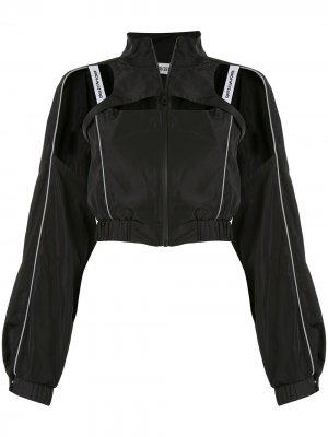 Укороченная джинсовая куртка с вырезами Ground Zero. Цвет: черный