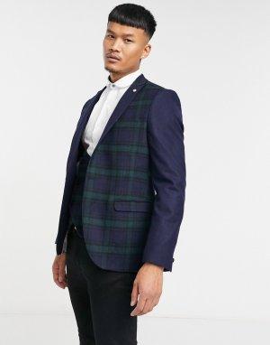 Пиджак в зеленую и темно-синюю клетку с контрастными рукавами -Темно-синий Twisted Tailor
