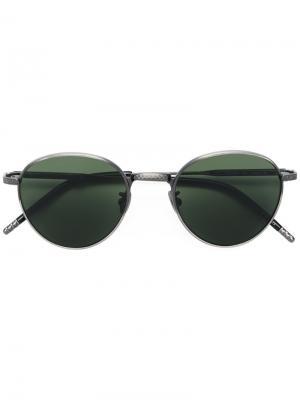 Солнцезащитные очки в круглой оправе Bottega Veneta Eyewear. Цвет: серый