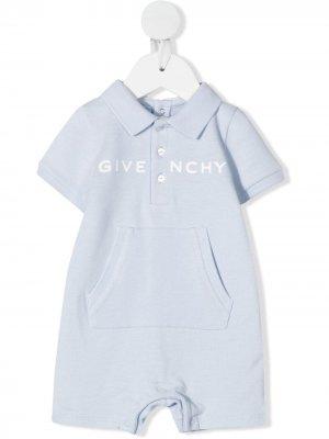 Короткий комбинезон с логотипом Givenchy Kids. Цвет: синий