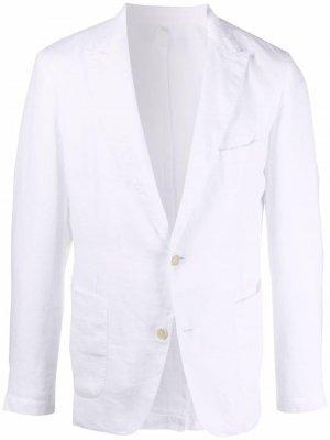 Однобортный пиджак 120% Lino. Цвет: белый