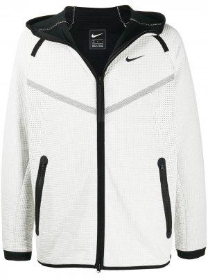 Фактурное худи на молнии Nike. Цвет: белый