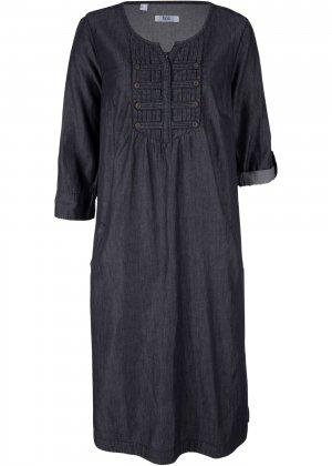 Платье в стиле деним, рукав 3/4 bonprix. Цвет: черный