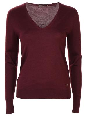 Пуловер с V-образным вырезом Cruciani. Цвет: бордовый