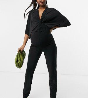 Черный комбинезон с узлом -Черный цвет Blume Maternity