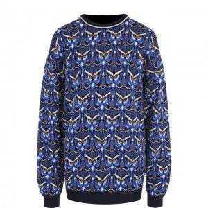 Пуловер из смеси хлопка и вискозы с принтом Chloé. Цвет: синий