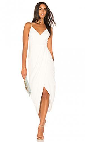Драпированное коктейльное платье Shona Joy. Цвет: белый