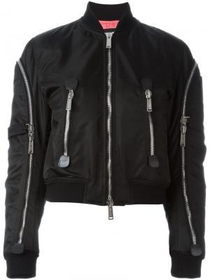 Куртка-бомбер с отделкой молниями Dsquared2. Цвет: чёрный