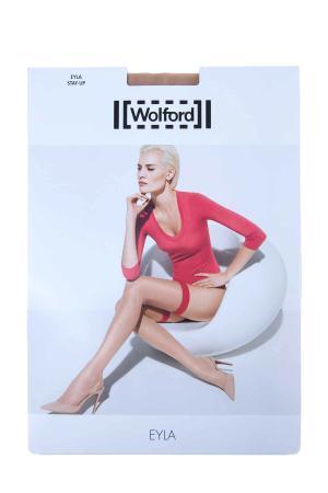 Чулки Eyla Stay-Up 20 den с резинкой контрастного цвета WOLFORD. Цвет: бежевый