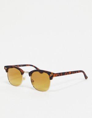 Черепаховые солнцезащитные очки в стиле ретро -Коричневый цвет River Island