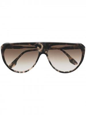 Солнцезащитные очки-авиаторы в оправе черепаховой расцветки Victoria Beckham Eyewear. Цвет: нейтральные цвета