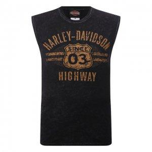 Хлопковая майка Exclusive for Moscow Harley-Davidson. Цвет: чёрный