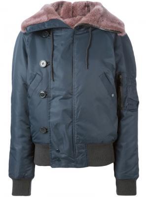 Куртка-бомбер с норковой подкладкой Liska. Цвет: синий