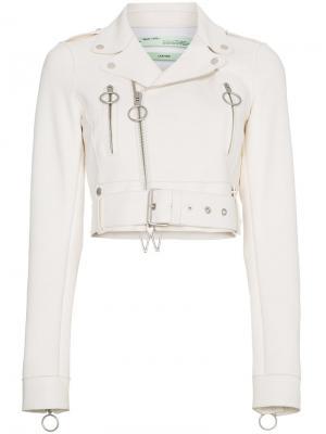 Кожаная куртка Off-White. Цвет: белый