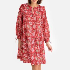 Платье с рисунком и длинными рукавами JODY DRESS ANTIK BATIK. Цвет: красный