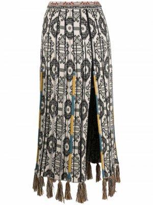 Pleated tassel-trim skirt ETRO. Цвет: нейтральные цвета