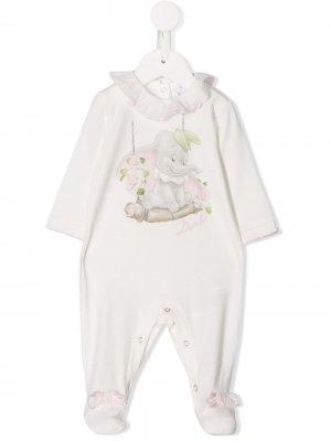 Пижама с принтом Dumbo Monnalisa. Цвет: белый