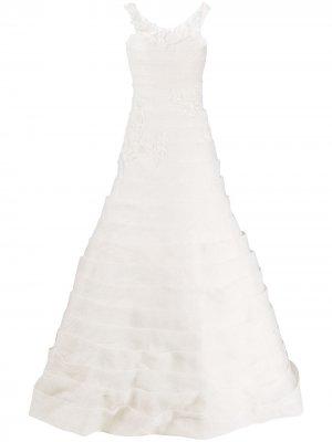 Свадебное платье с ярусными вставками Loulou. Цвет: нейтральные цвета