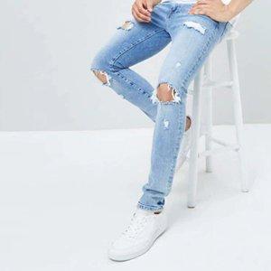 Мужские рваные однотонные джинсы SHEIN. Цвет: синий