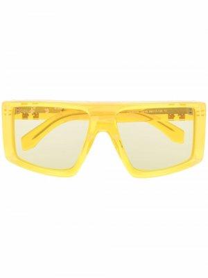 Массивные солнцезащитные очки Alps Off-White. Цвет: желтый